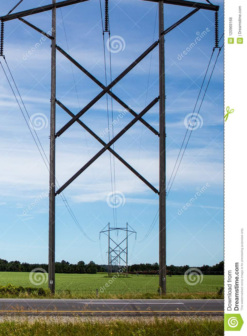 Power Lines and Pylons stock photo  Image of rural, cable - 120969168