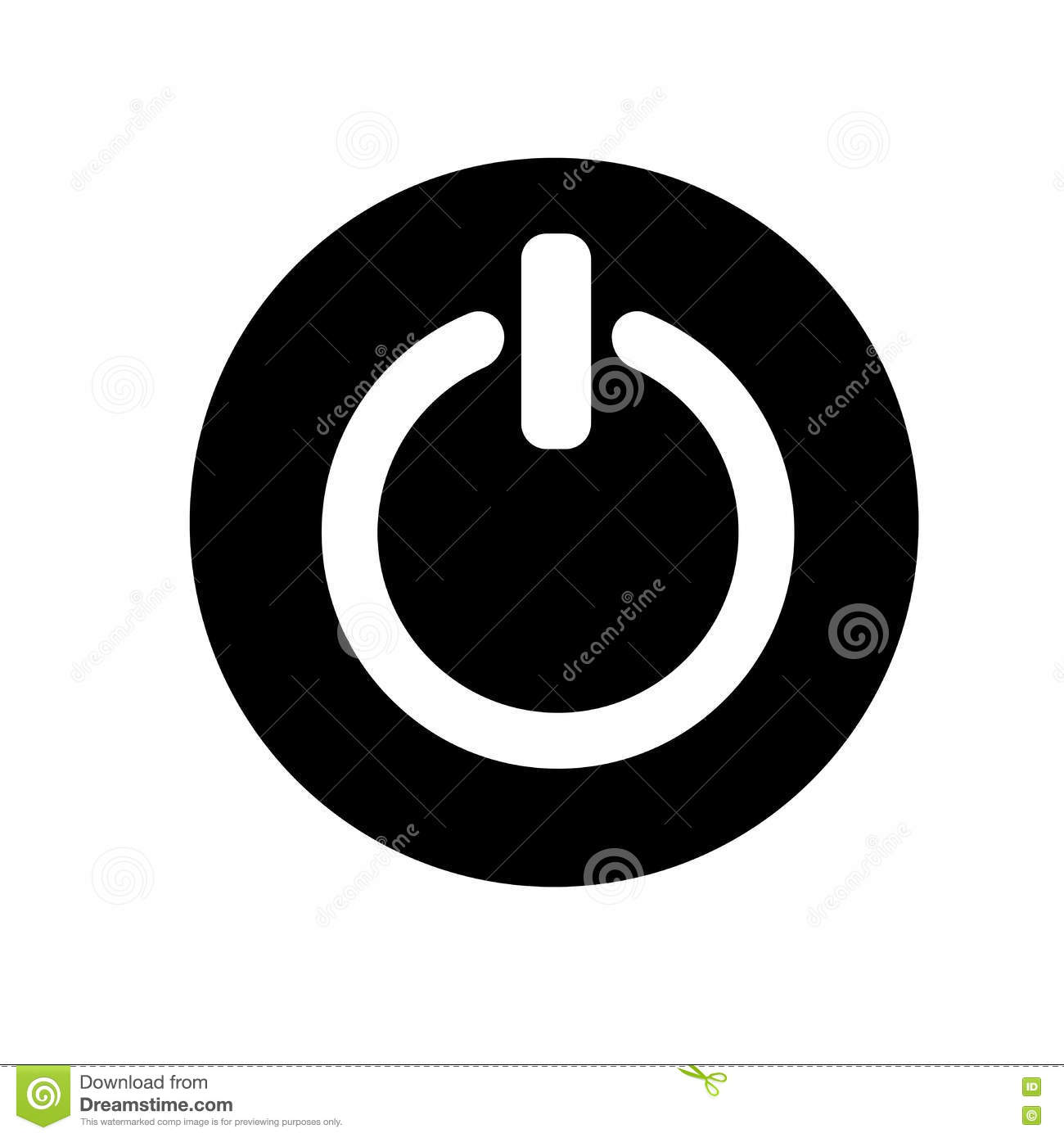 Power On Off Button Sign Icon Illustration Flat Design Style And Download Black