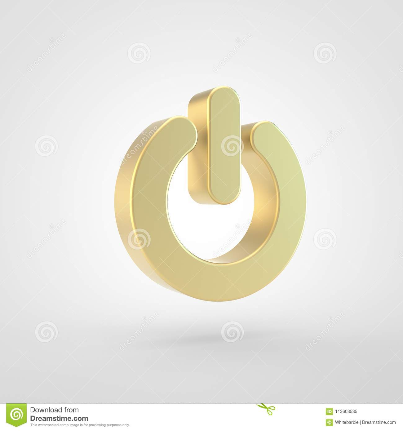 Golden Power Off Icon Isolated On White Background Stock