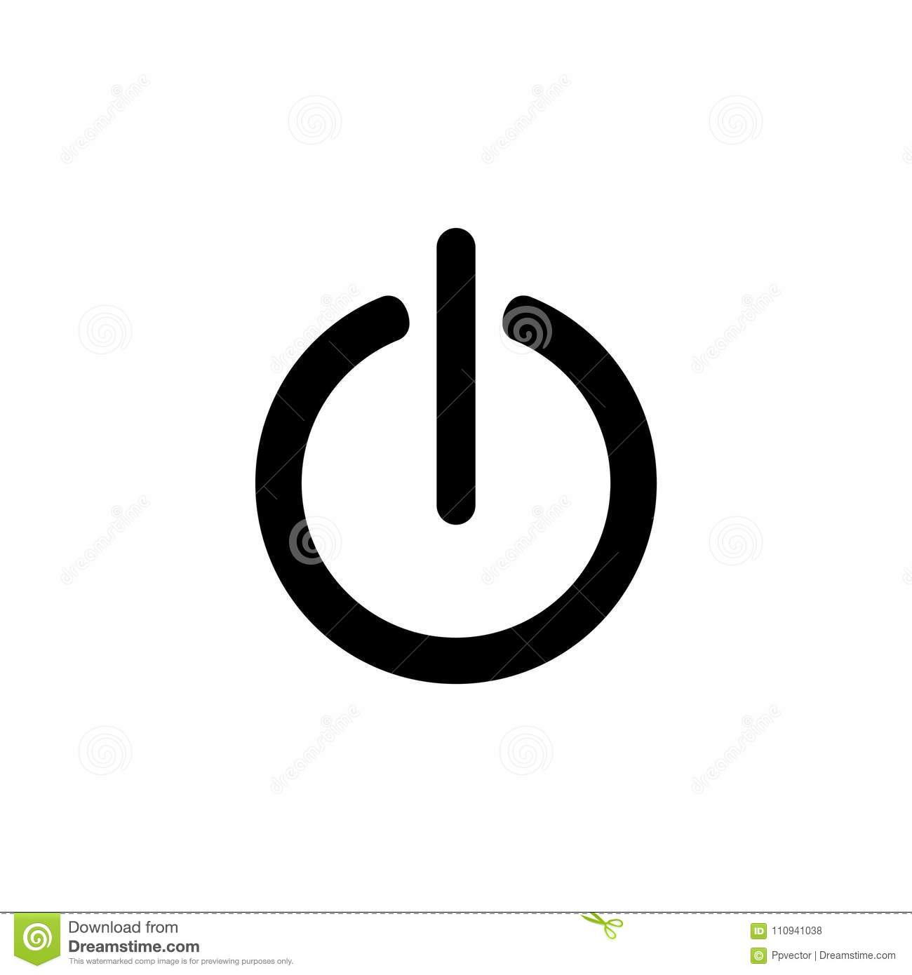 Power Onoff Icon Flat Design Style Vector Stock Vector