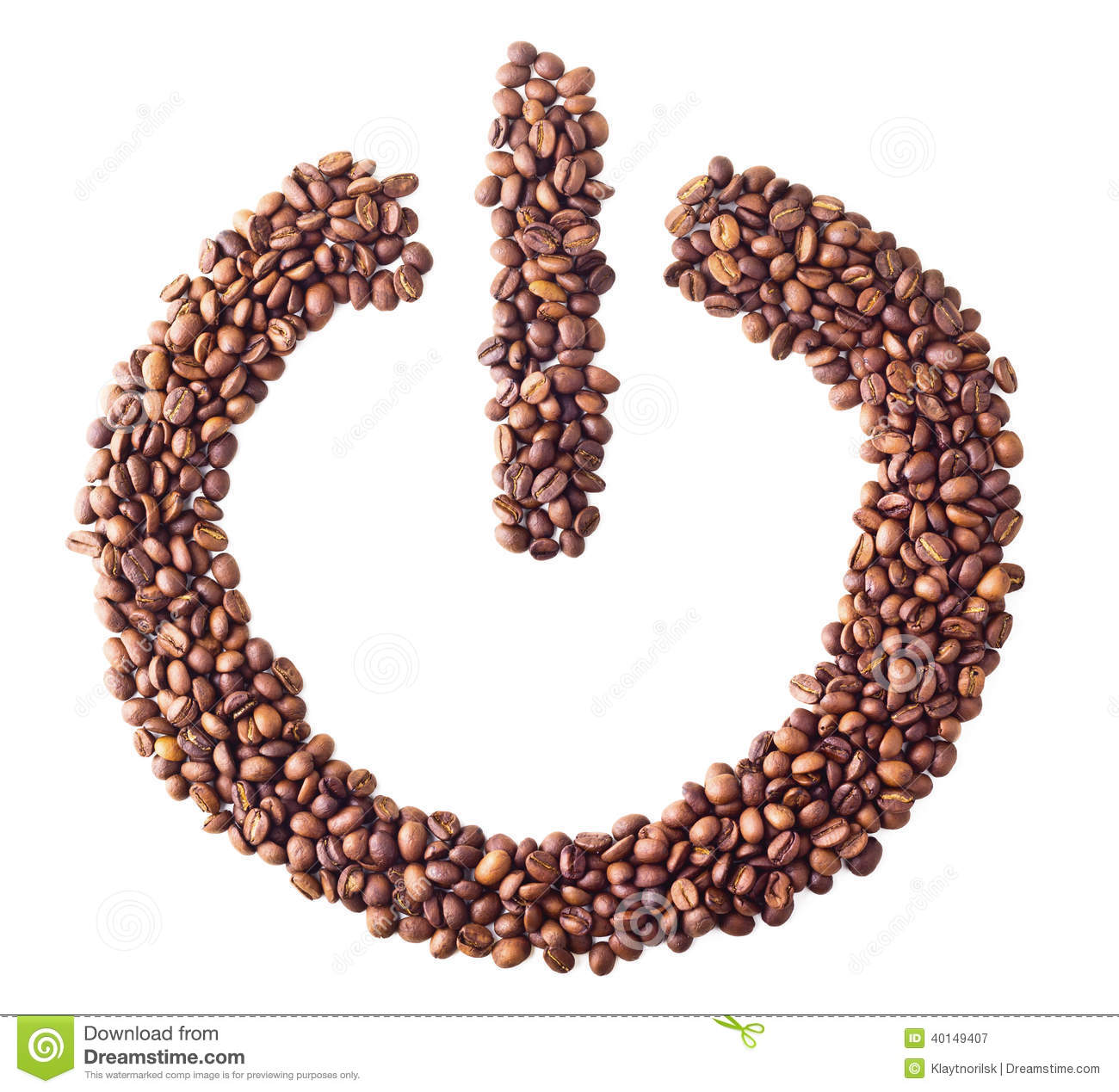 Power Onoff Symbol From Coffee Beans Stock Image Image Of Drink