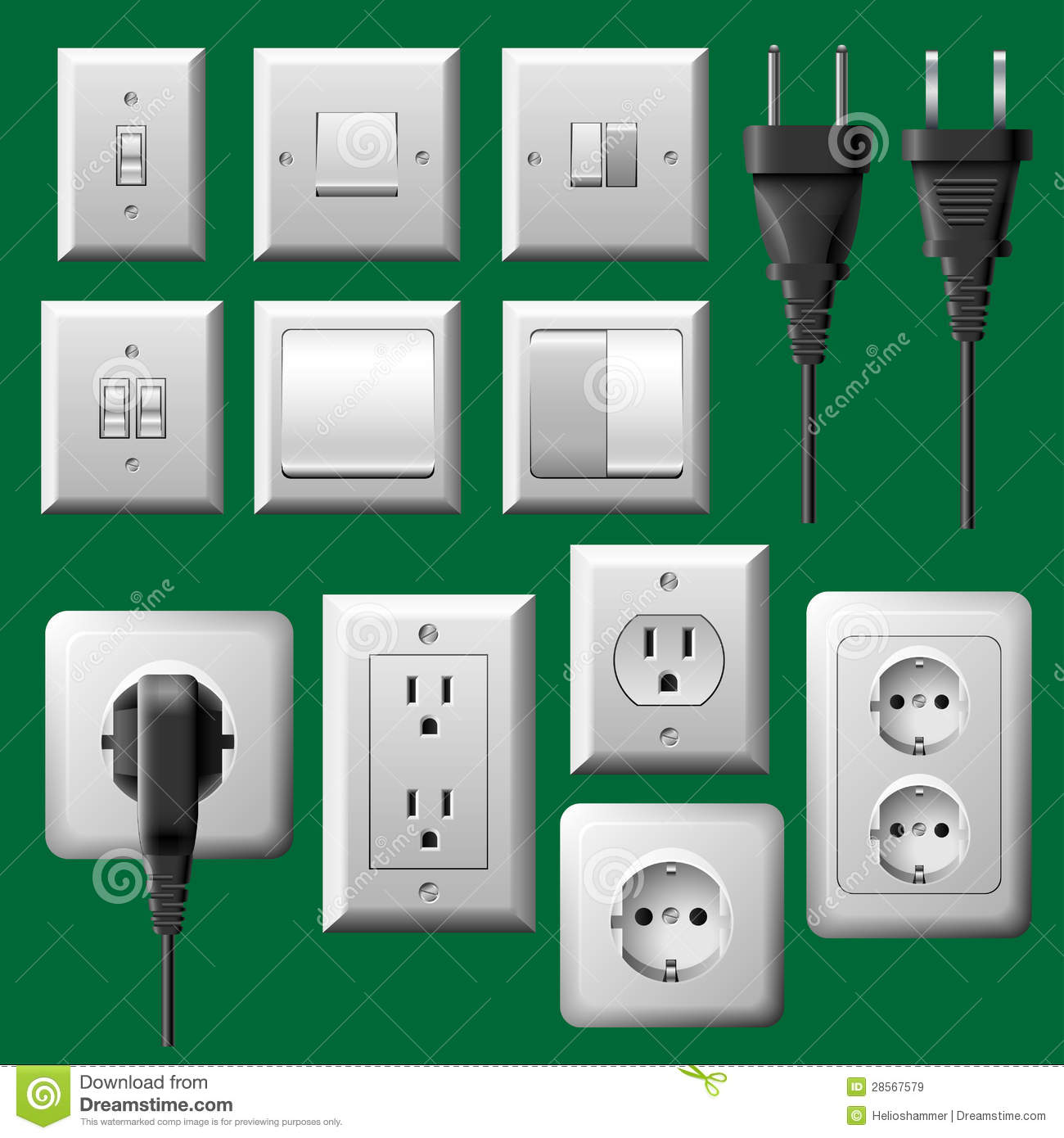 Power Outlet Light Switch And Electrical Plug Set Royalty Free Stock Images