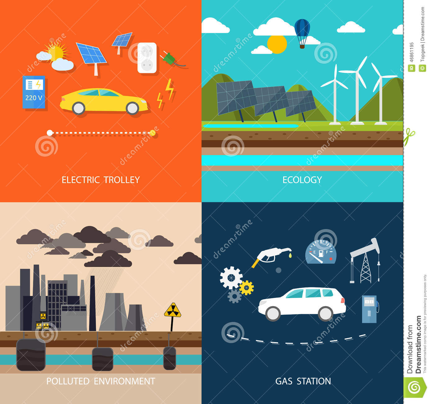 Power Plant Electric Cars And Petrol Car Stock Vector