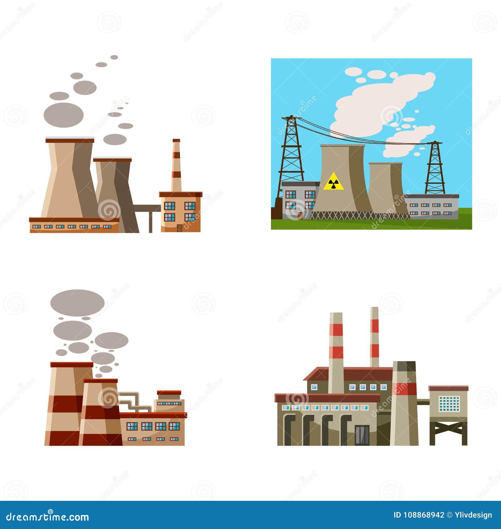 Power Plant Icon Set Cartoon Style Stock Vector Illustration Of Cartoon Current 108868942