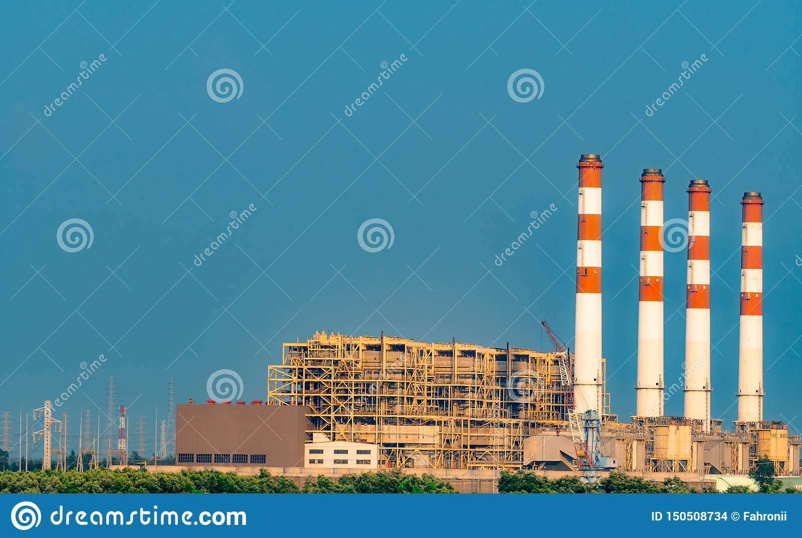 Power Plant. Thermal Power Plant and Combined Cycle Power Plant in Thailand. Power plant using natural gas and petroleum. Air