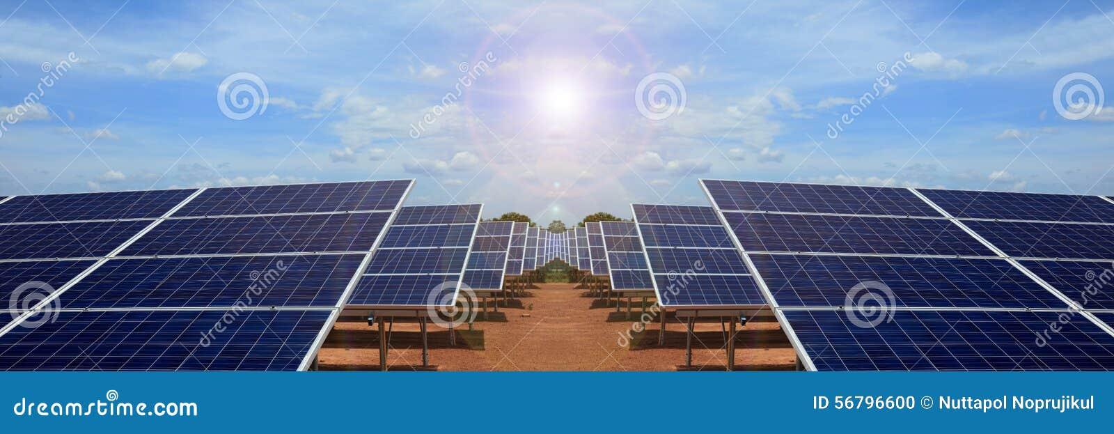 Power plant using renewable solar energy on blue sky cloud.
