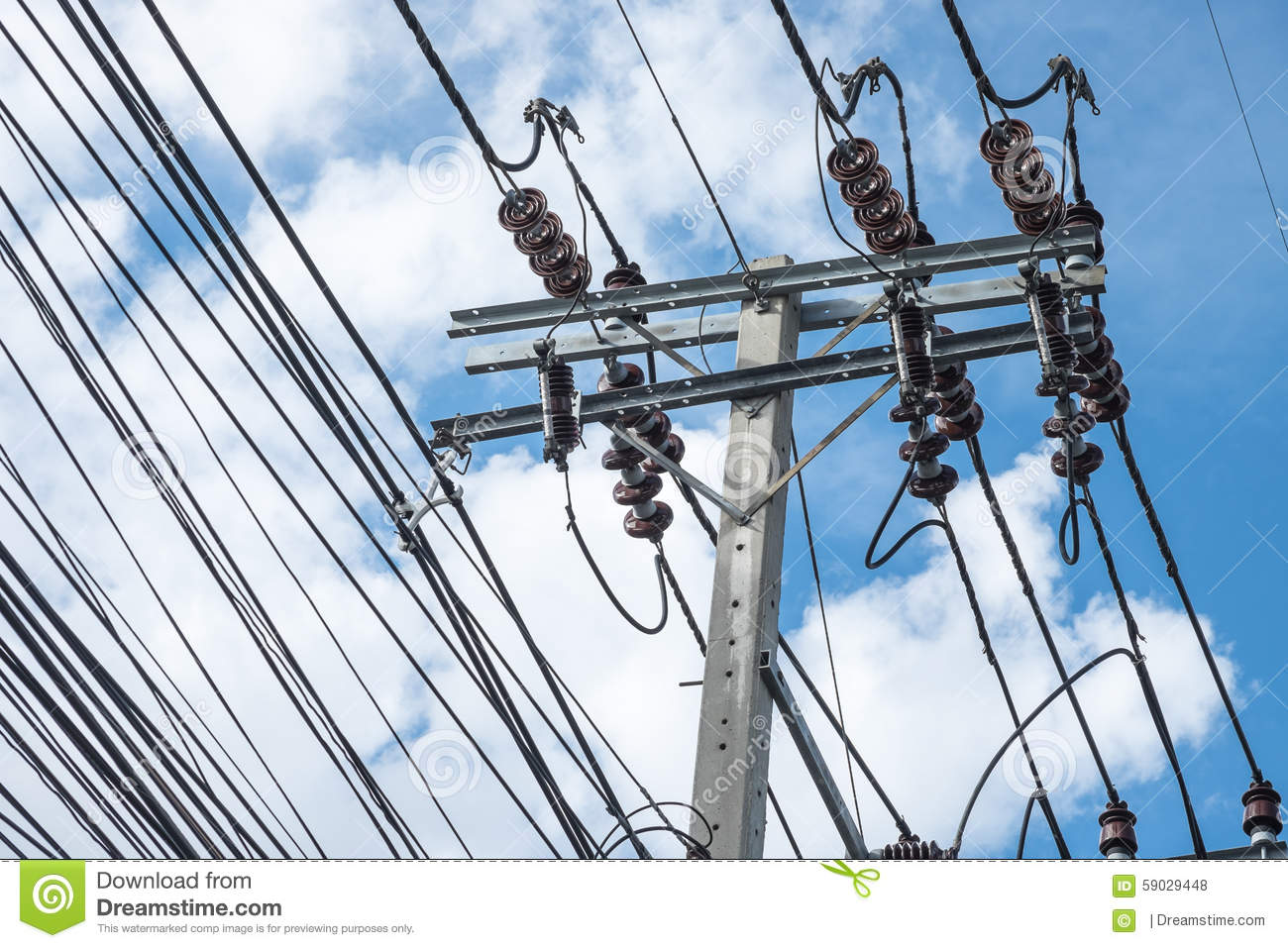 Power Pole With Cables Or Wire On Street Stock Photo - Image of ...