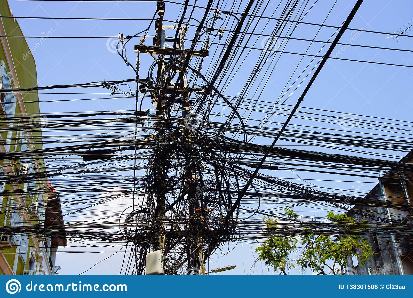 Power pole with chaotic electricity cables in Kathmandu Nepal