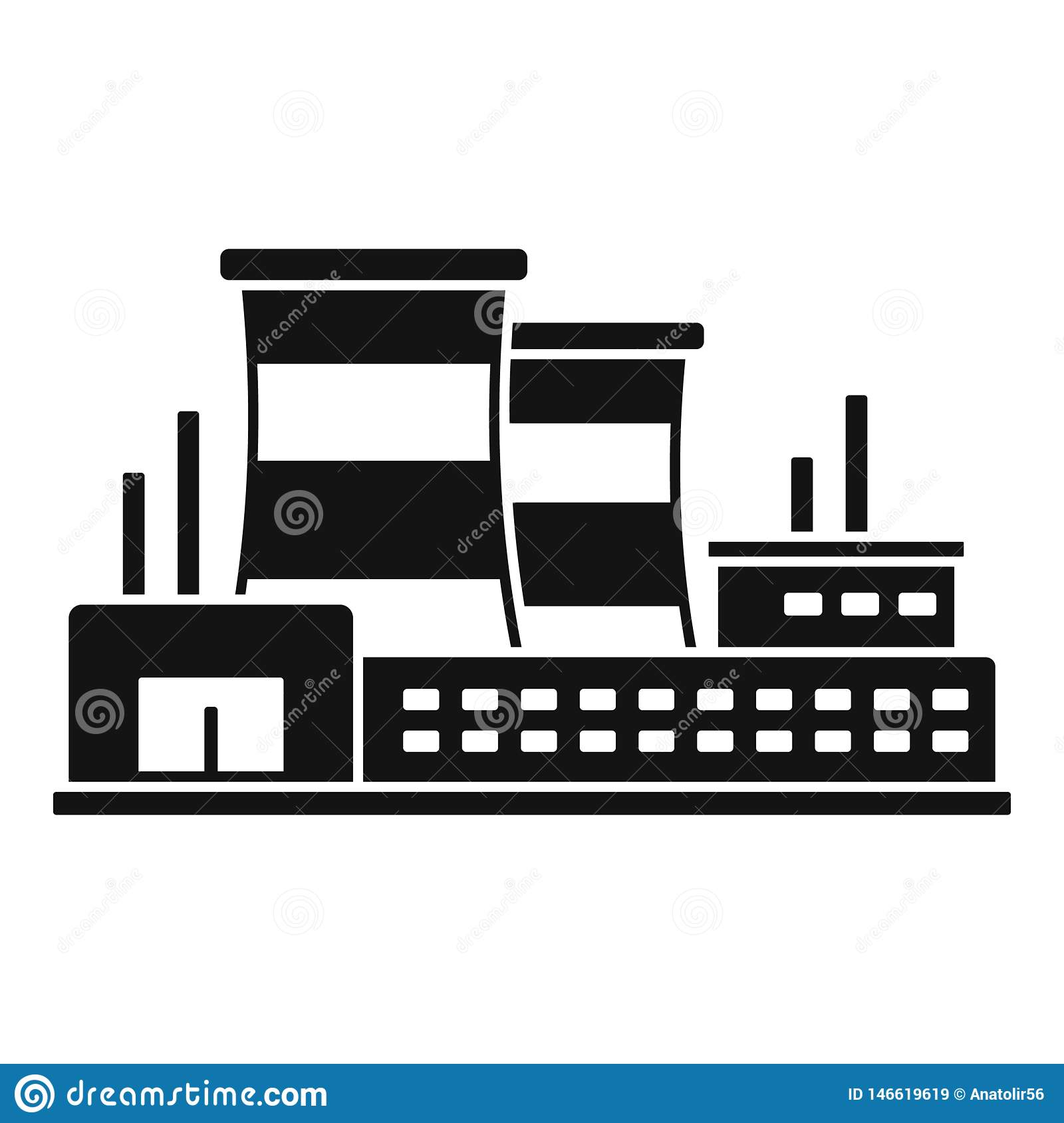 Power Refinery Plant Icon, Simple Style Stock Vector