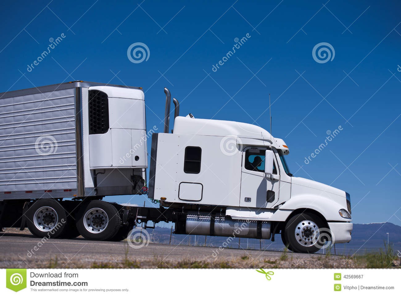 Power Semi Truck Rig And Reefer Trailer Side View Stock