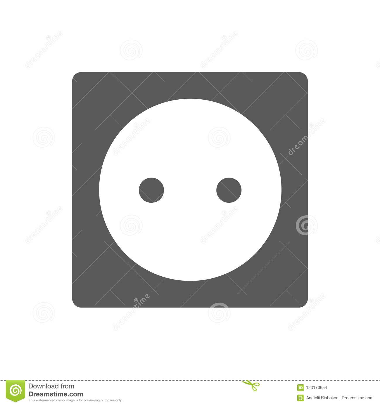 Power Socket Icon Black Simple Style Stock Illustration