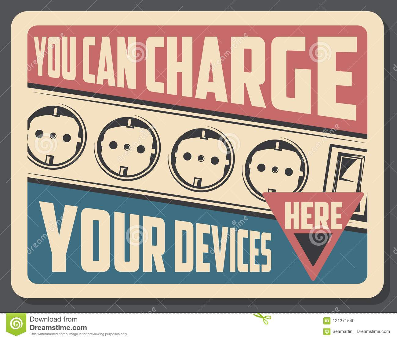 Charge Device Retro Poster With Sockets Stock Vector Illustration Wiring Outlets And Switches Electrical Outlet Electricity Vintage Placard Electric Gadgets Appliances Store Or Shop Advertisement