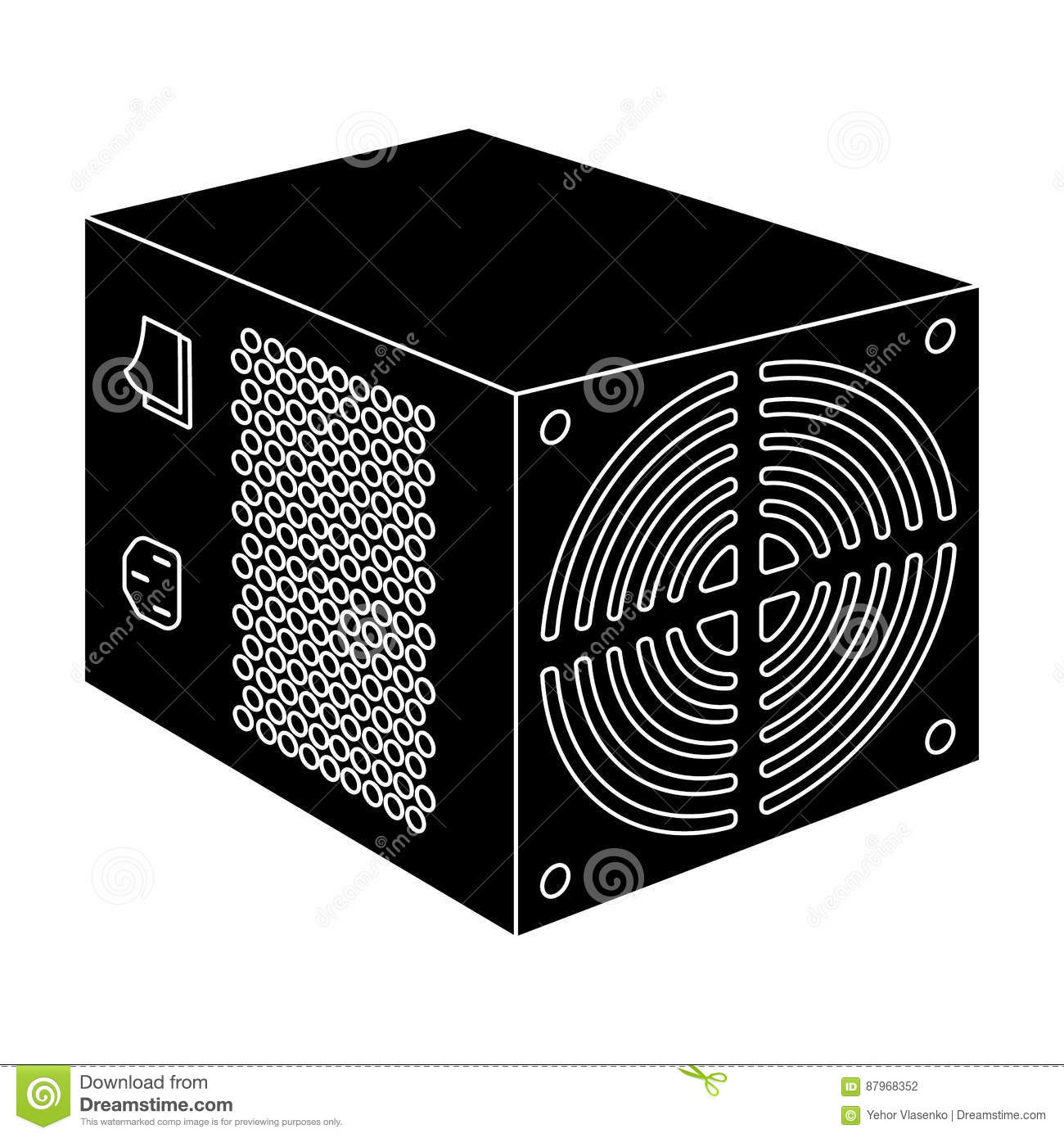 Power supply unit icon in black style isolated on white background power supply unit icon in black style isolated on white background personal computer accessories symbol stock vector biocorpaavc Choice Image