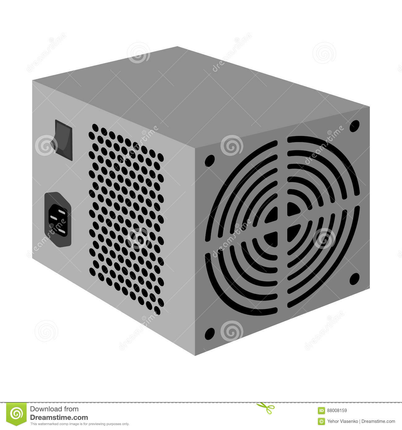 Power Supply Unit Icon In Monochrome Style Isolated On White ...