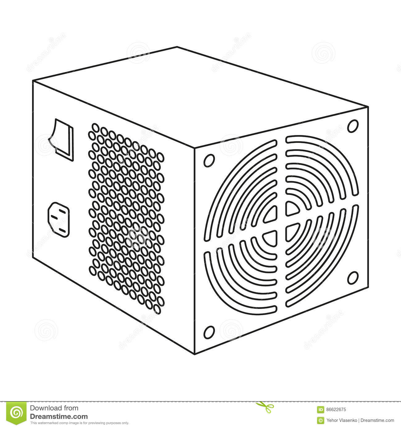 Power Supply Unit Icon In Outline Style Isolated On White Background