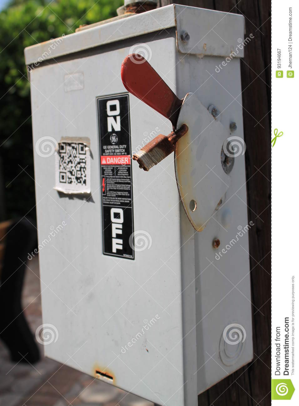 Power switch box outside editorial photography. Image of control ...