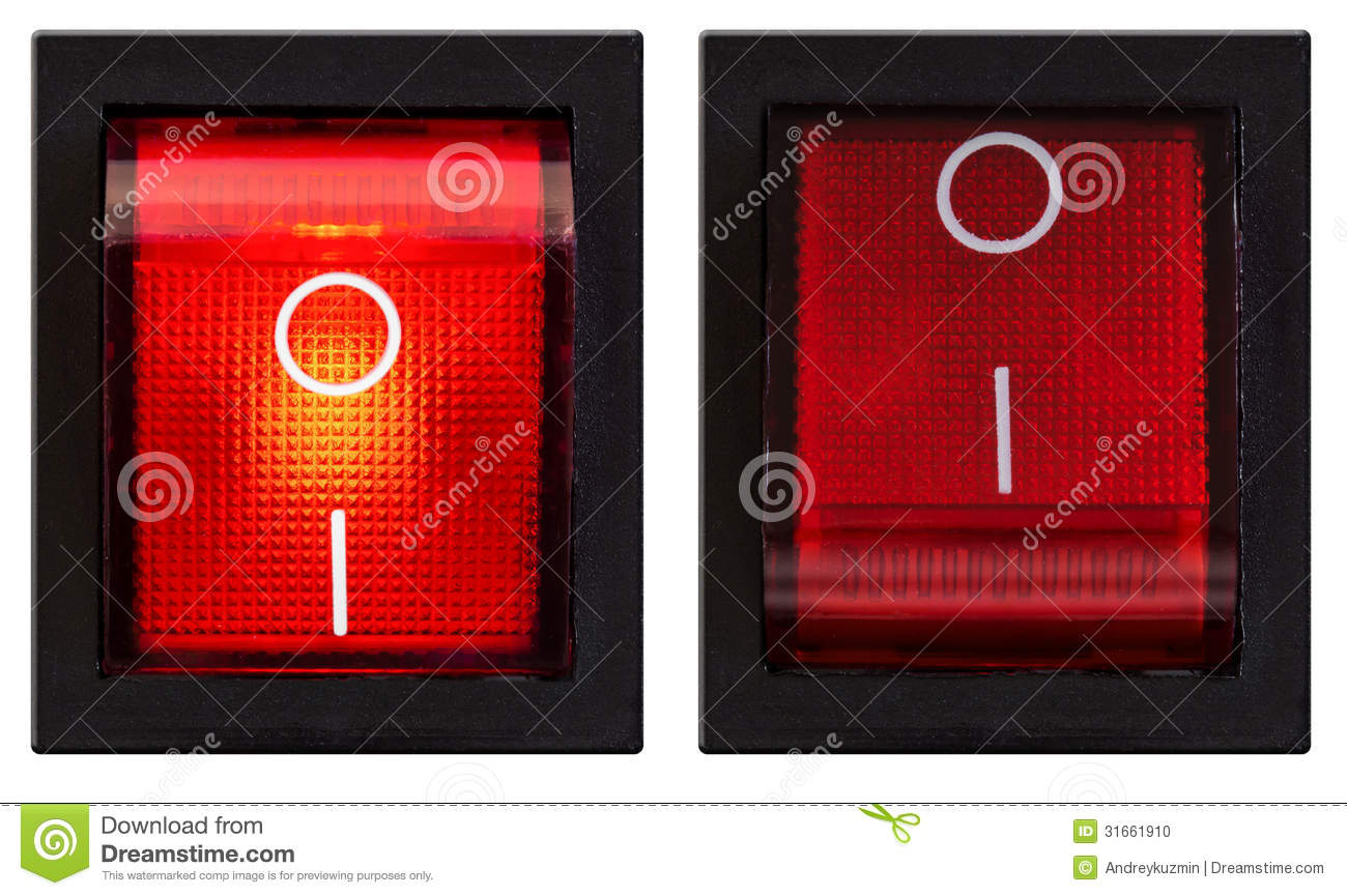 Power Switch Turned On And Off Set Stock Photo Image Of Begin
