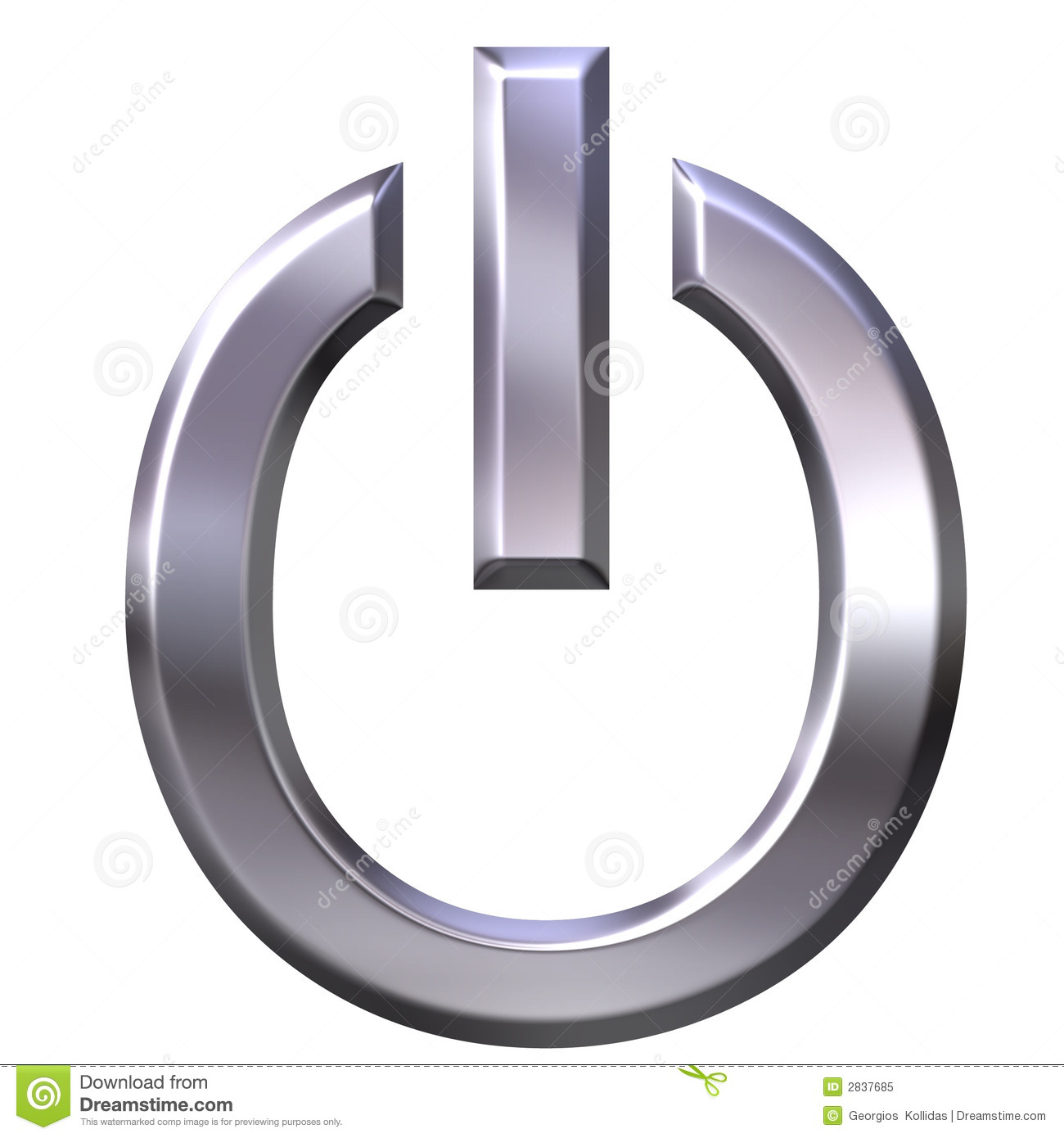 Power Symbol isolated in white.