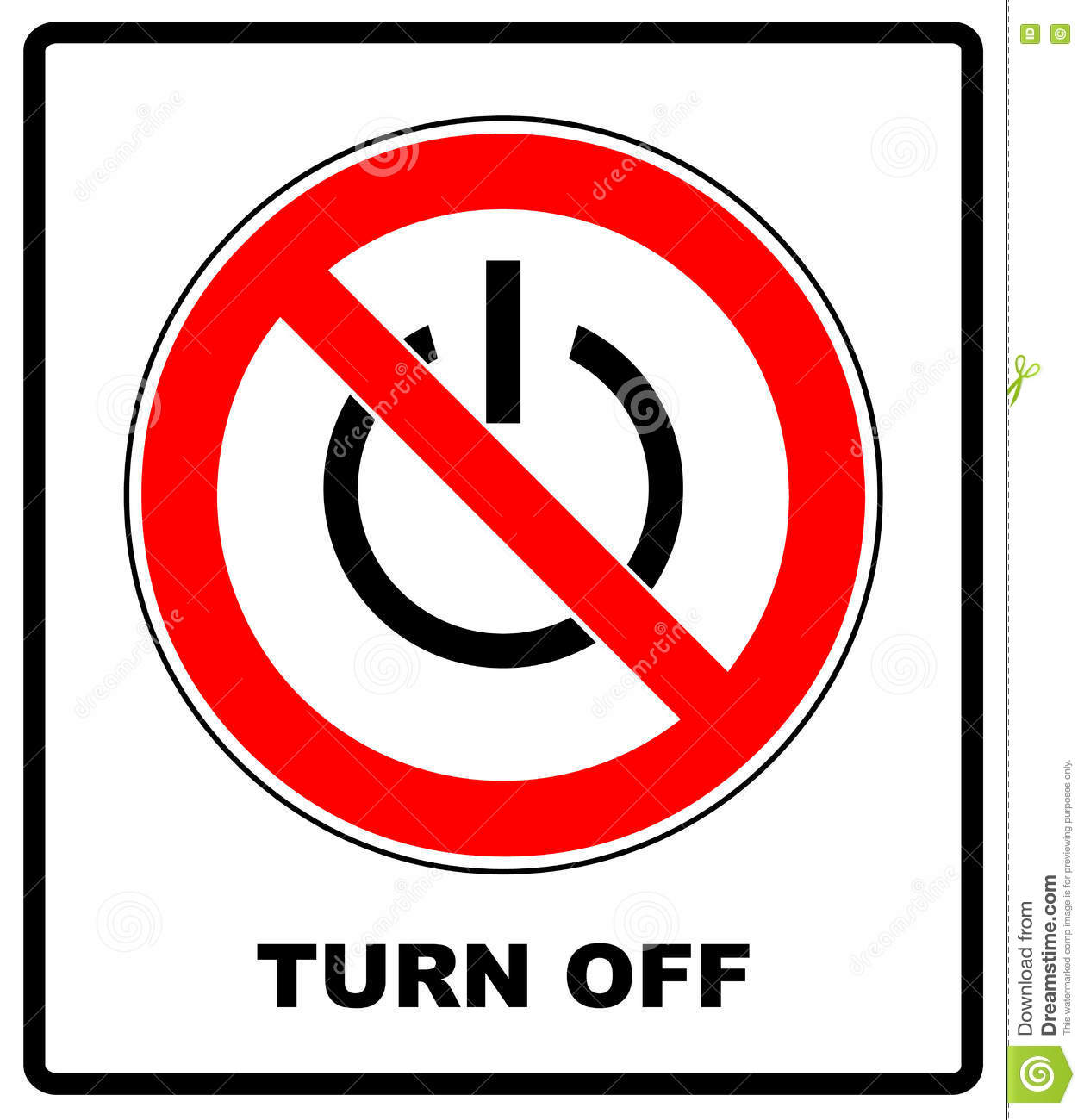 Power Symbol And Prohibition Sign Black Out No