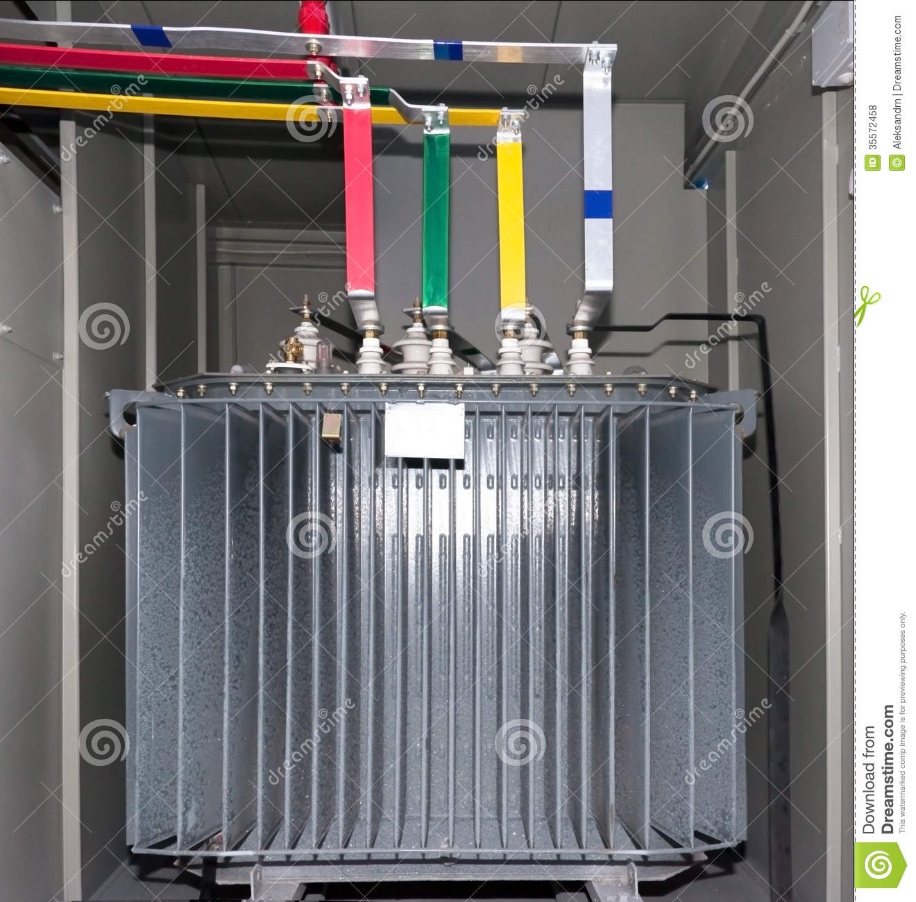 Red Canisters For Kitchen Power Transformer In The Compartment Royalty Free Stock