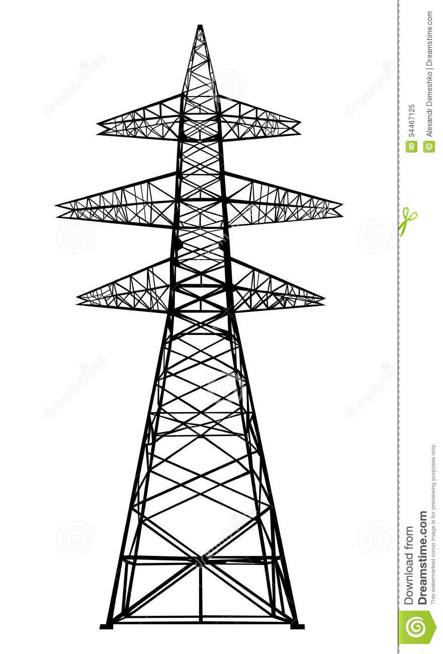 power transmission tower  stock vector  illustration of