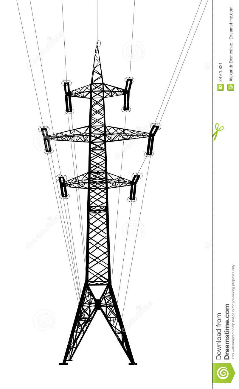 power transmission tower with wires  stock vector