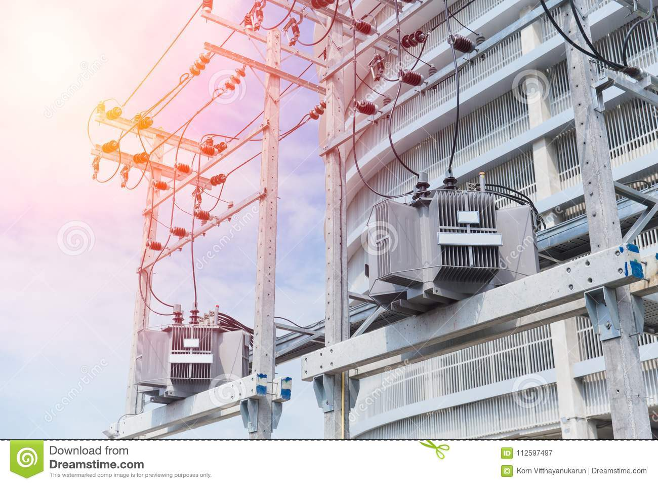 power in urban electrical post with power line cables stock image