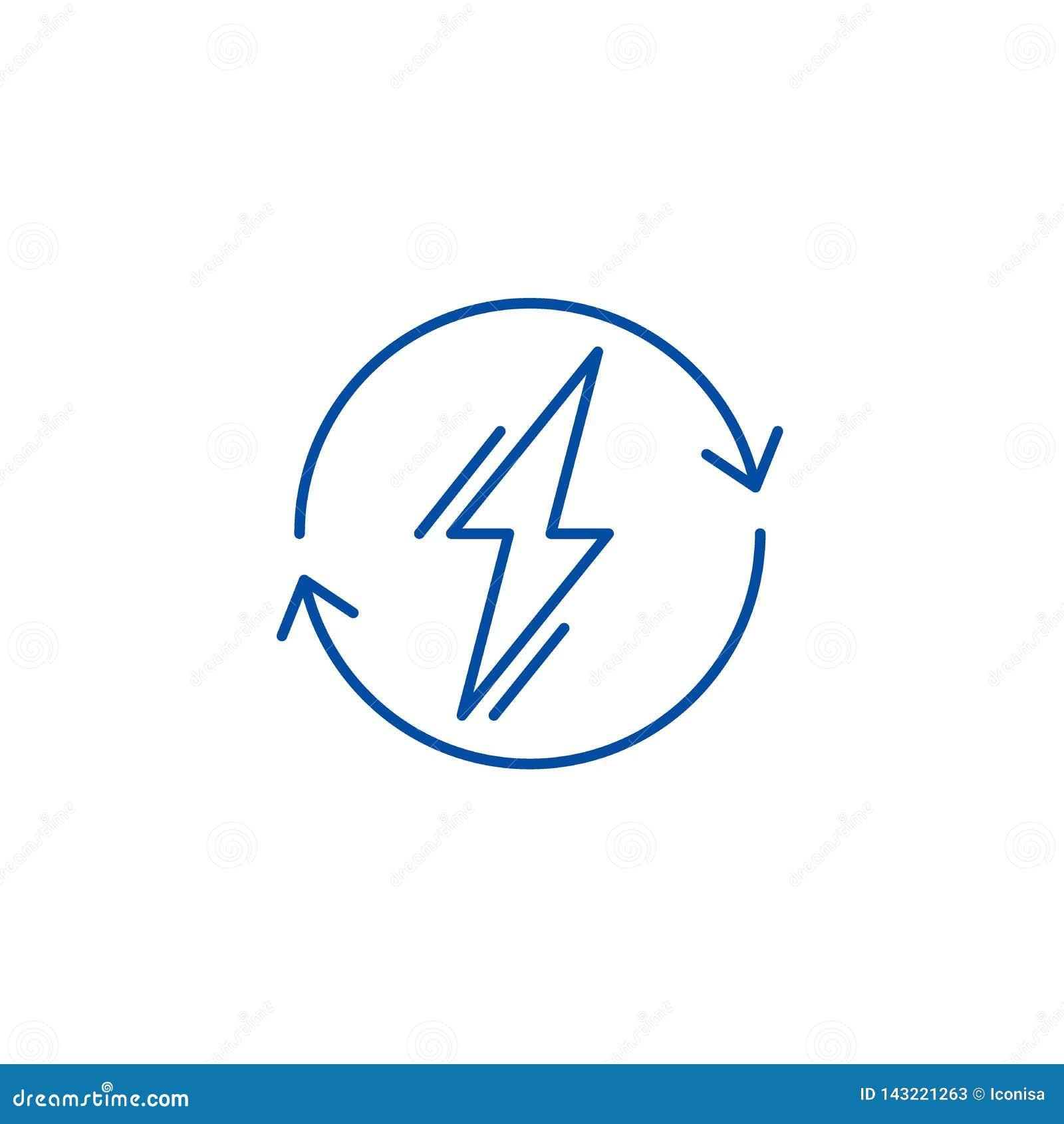 Power usage line icon concept. Power usage flat  vector symbol, sign, outline illustration.