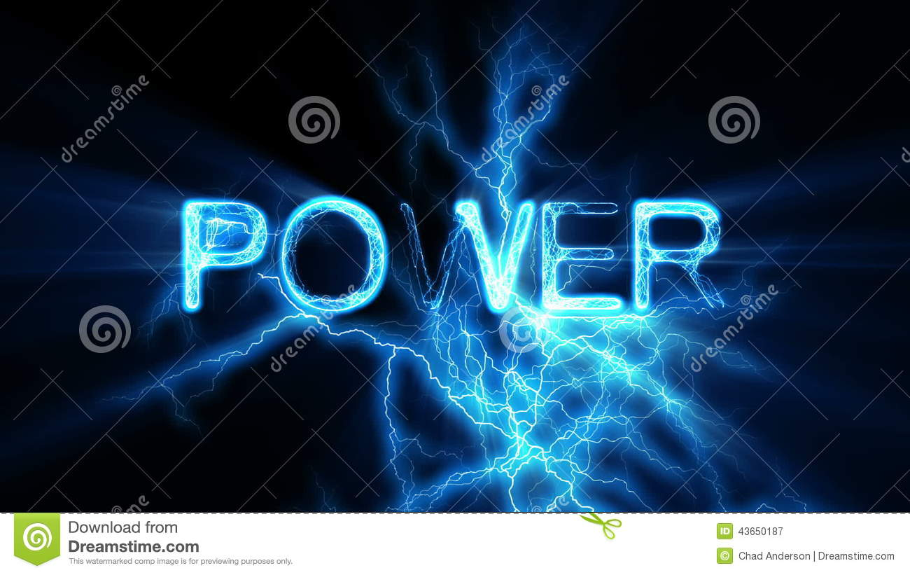 Power Word Text Animation Electrical Lightning Stock