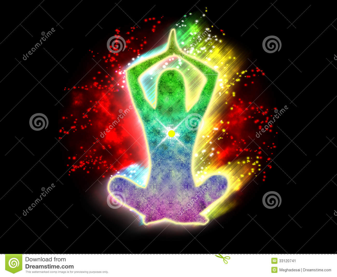 Power Yoga energy stock illustration. Image of hinduism ...