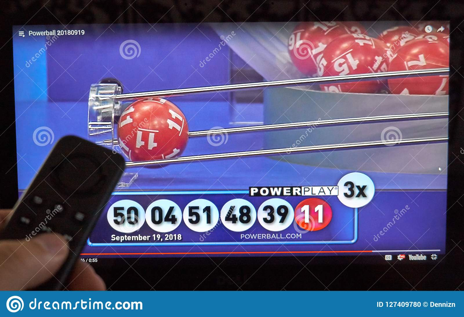 Powerball Lottery Winning Numbers And Results On A Screnn Editorial