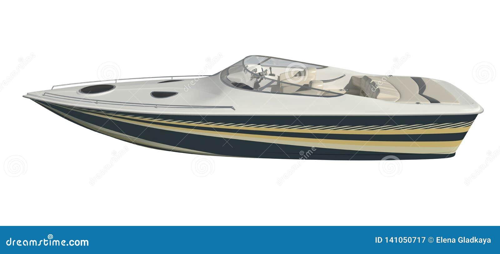 Powerboat που απομονώνεται στην άσπρη τρισδιάστατη απεικόνιση υποβάθρου