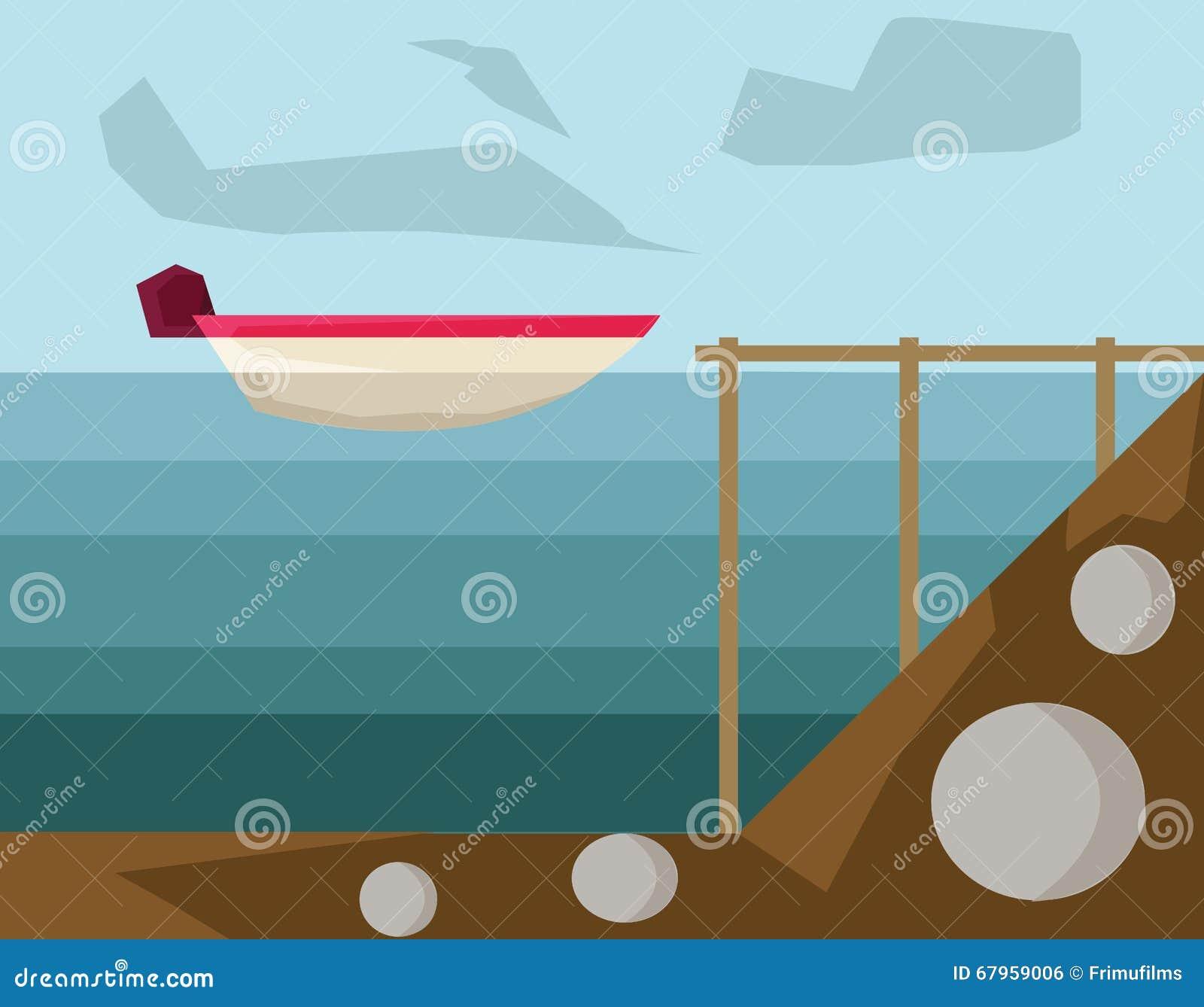 Powerboat i hamnvektorillustration