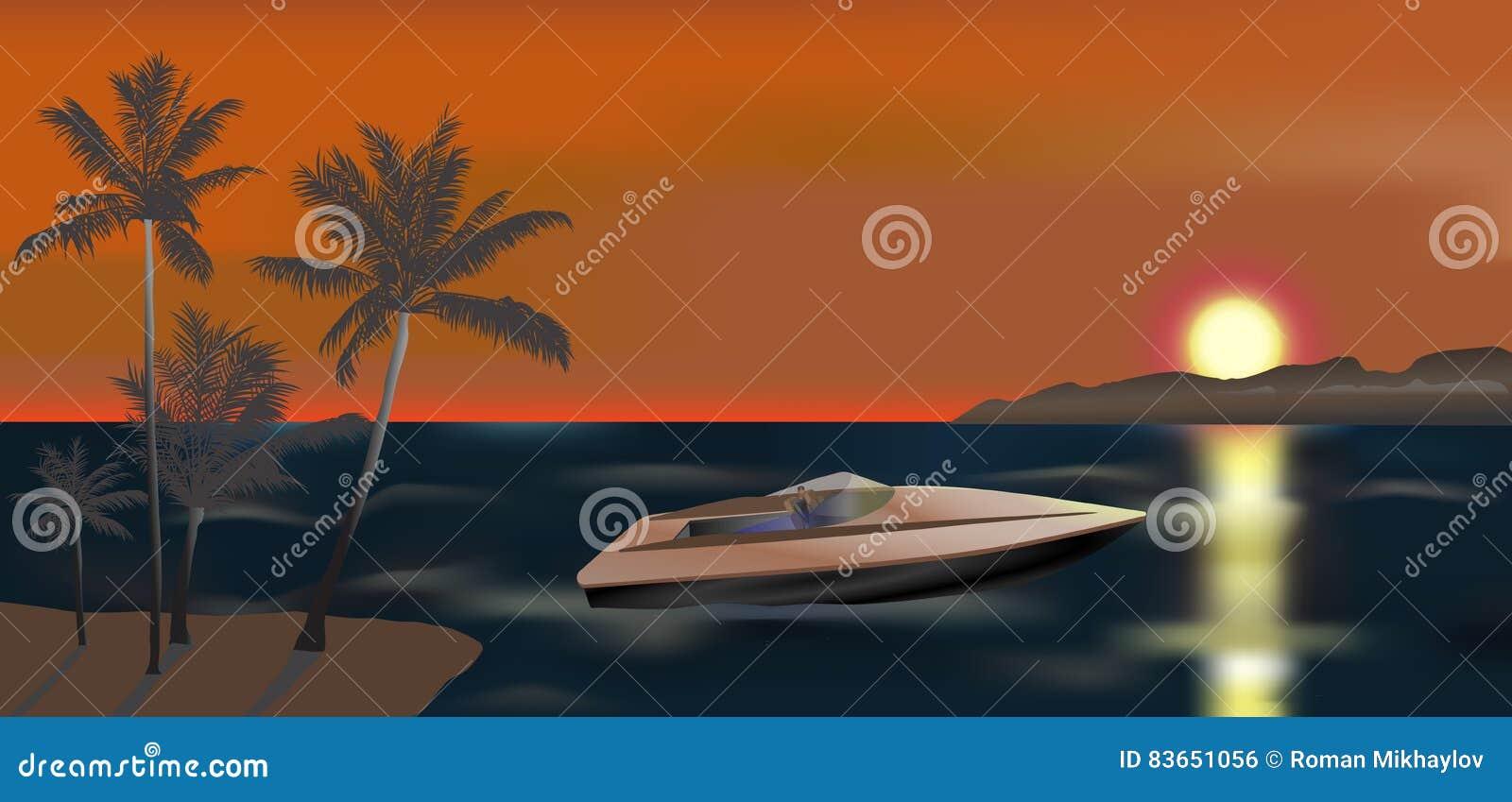 Powerboat- och solnedgångillustration