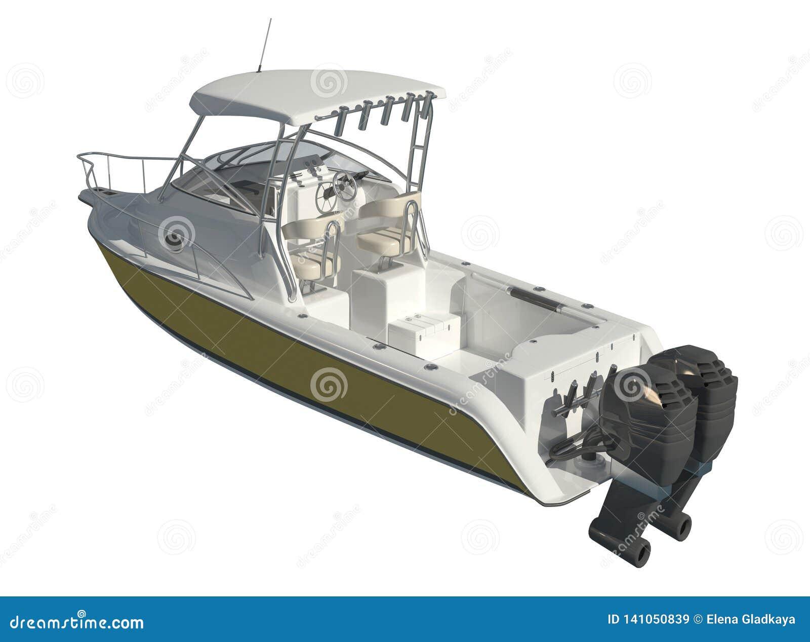 Powerboat Odizolowywający na białej tła 3d ilustracji