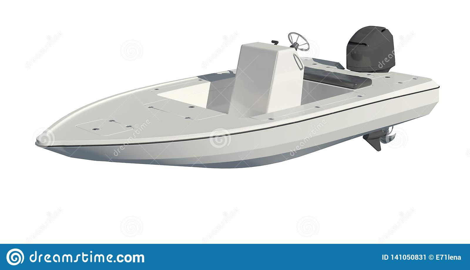 Powerboat som isoleras på den vita illustrationen för bakgrund 3d