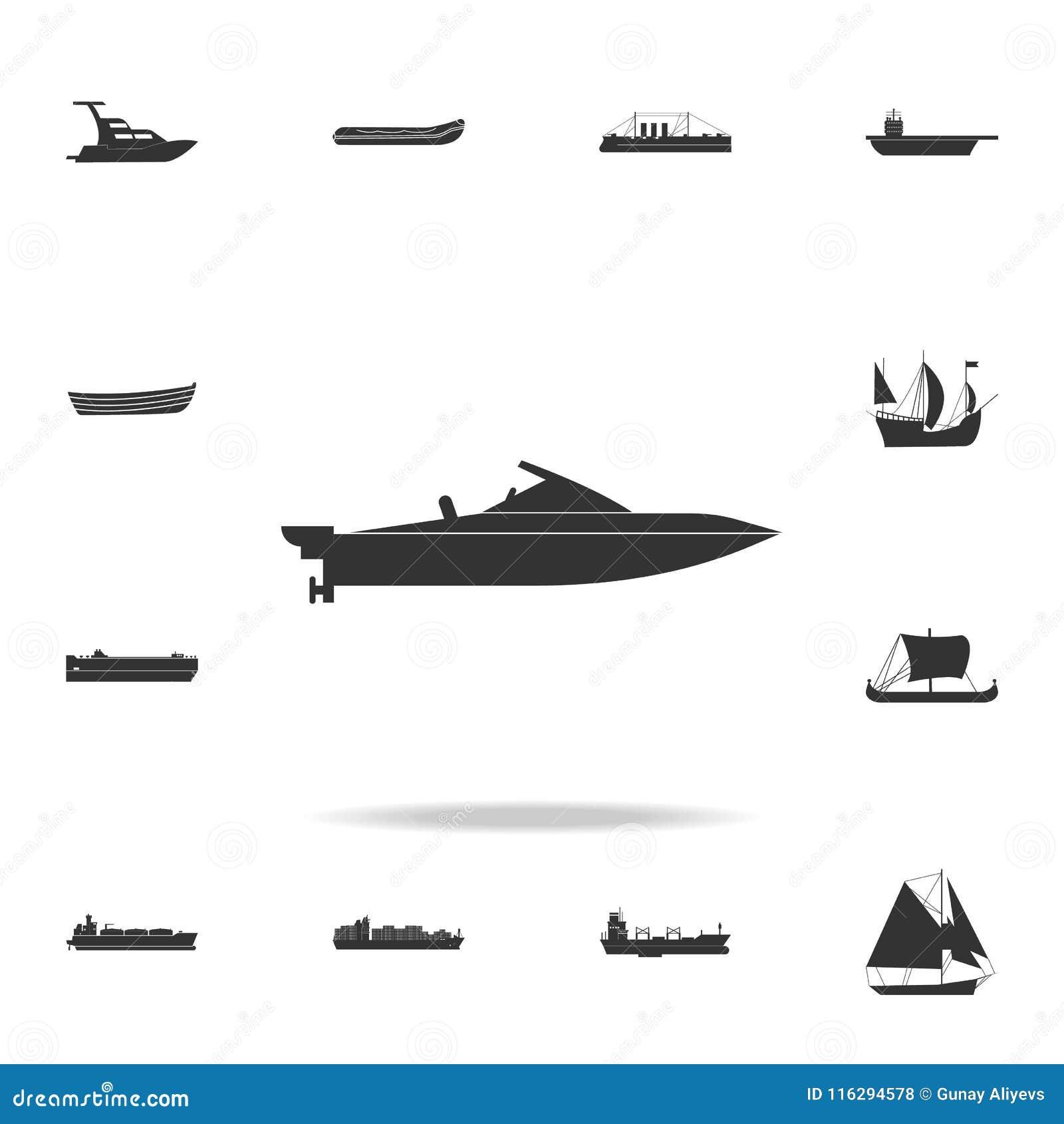 Powerboatsymbol Detaljerad uppsättning av vattentransportsymboler Högvärdig grafisk design En av samlingssymbolerna för websites,