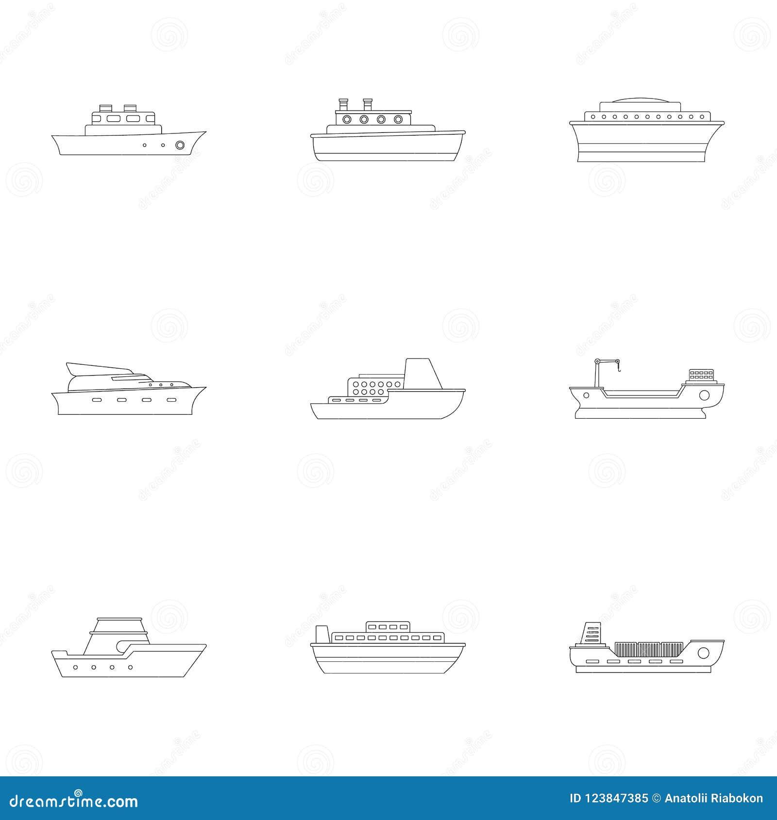 Powerboatsymbolsuppsättning, översiktsstil