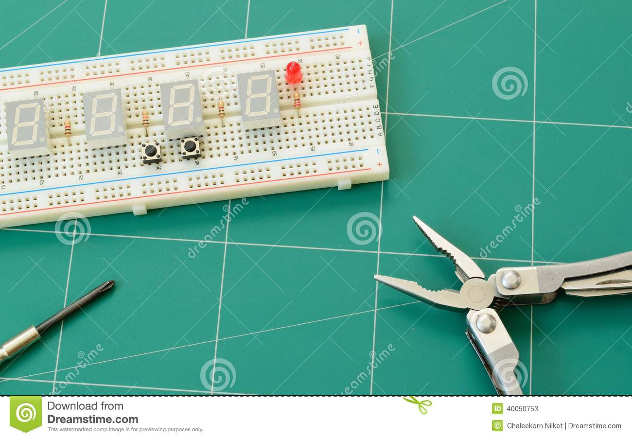Electronic Project Board : Powered project board stock photo image