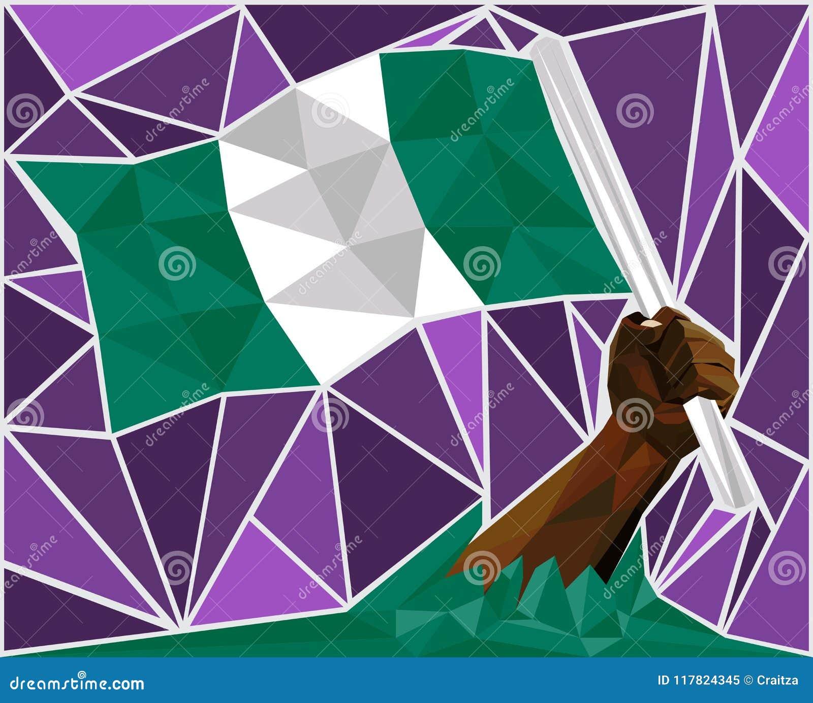 Download Powerful Black Man Hand Raising The Flag Of Nigeria Stock Illustration - Illustration of freedom, education: 117824345