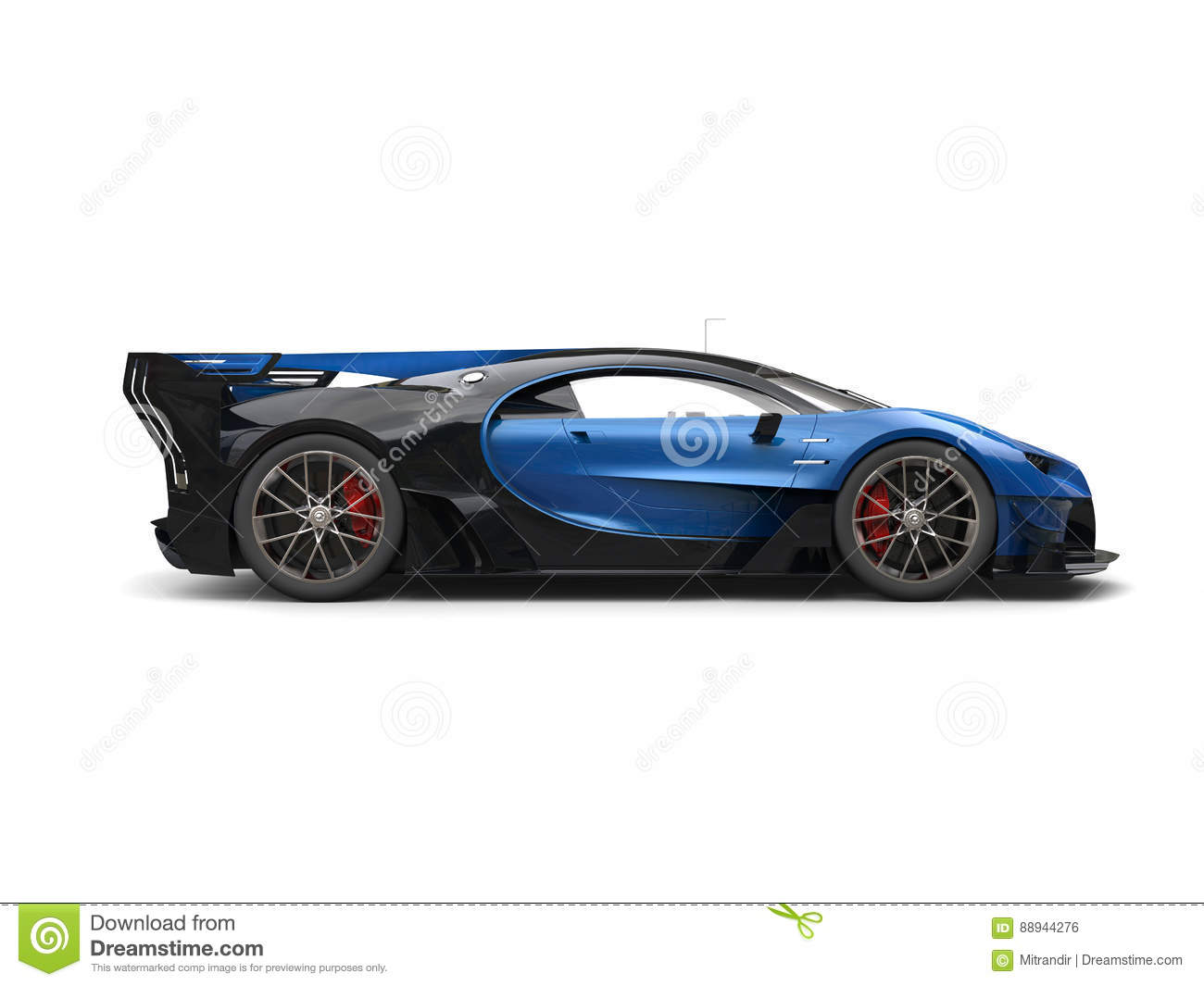 Powerful Blue Super Race Car Side View Stock Illustration