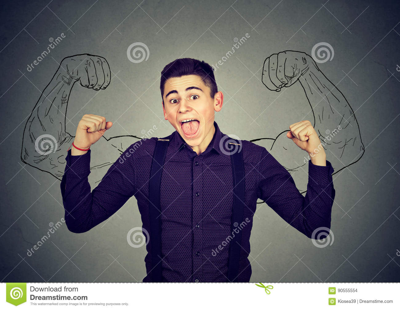 Powerful confident young man flexing his muscles