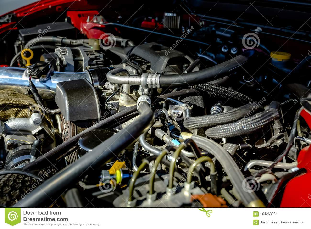 Powerful Engine Under The Hood Of A Modern Car Stock Image - Image ...