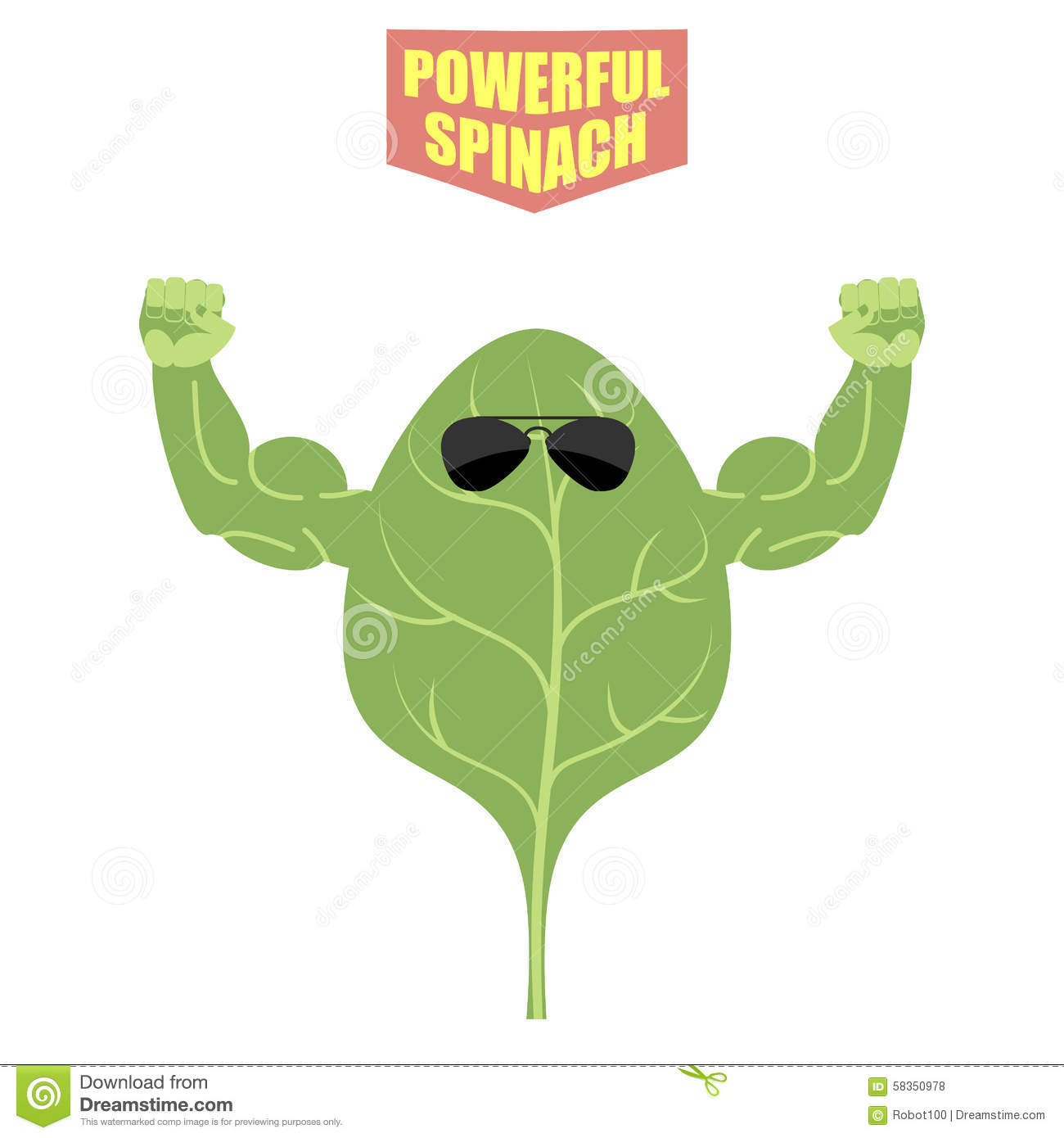 Powerful Spinach A Strong Plant With Big Muscles Green Fresh Stock
