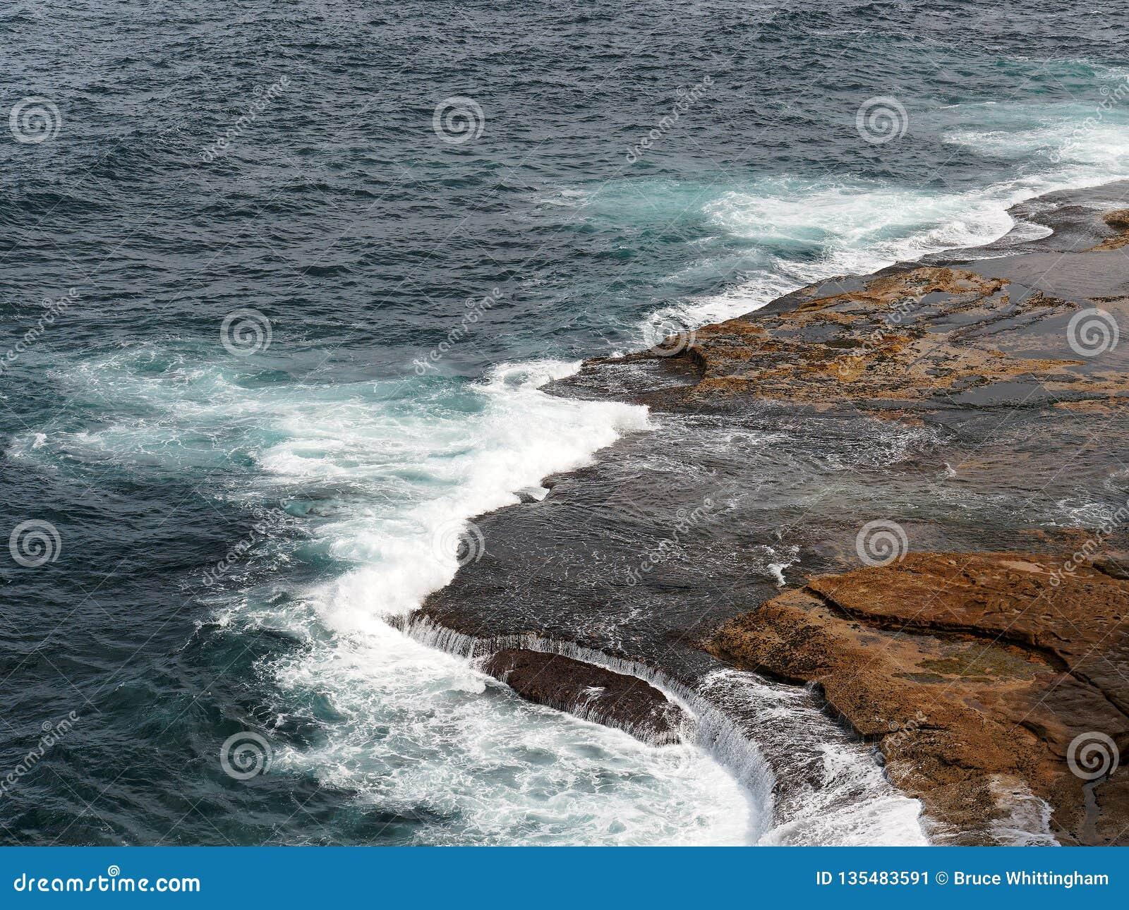 Powerful Pacific Ocean Waves Crashing on Rocks