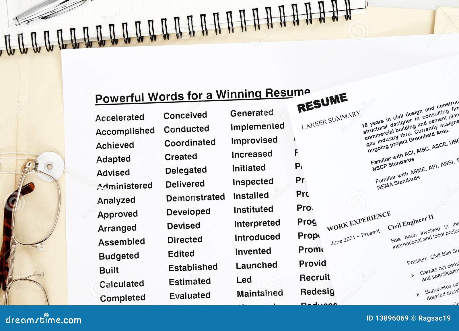 Powerful words resume stock image. Image of close, human - 13896069