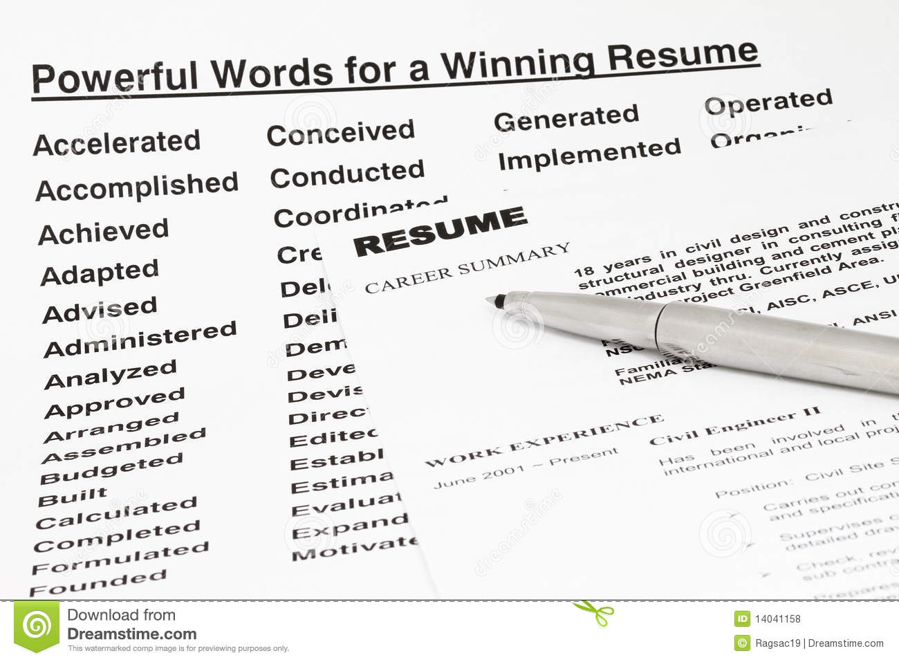 powerful words for winning resume stock photo