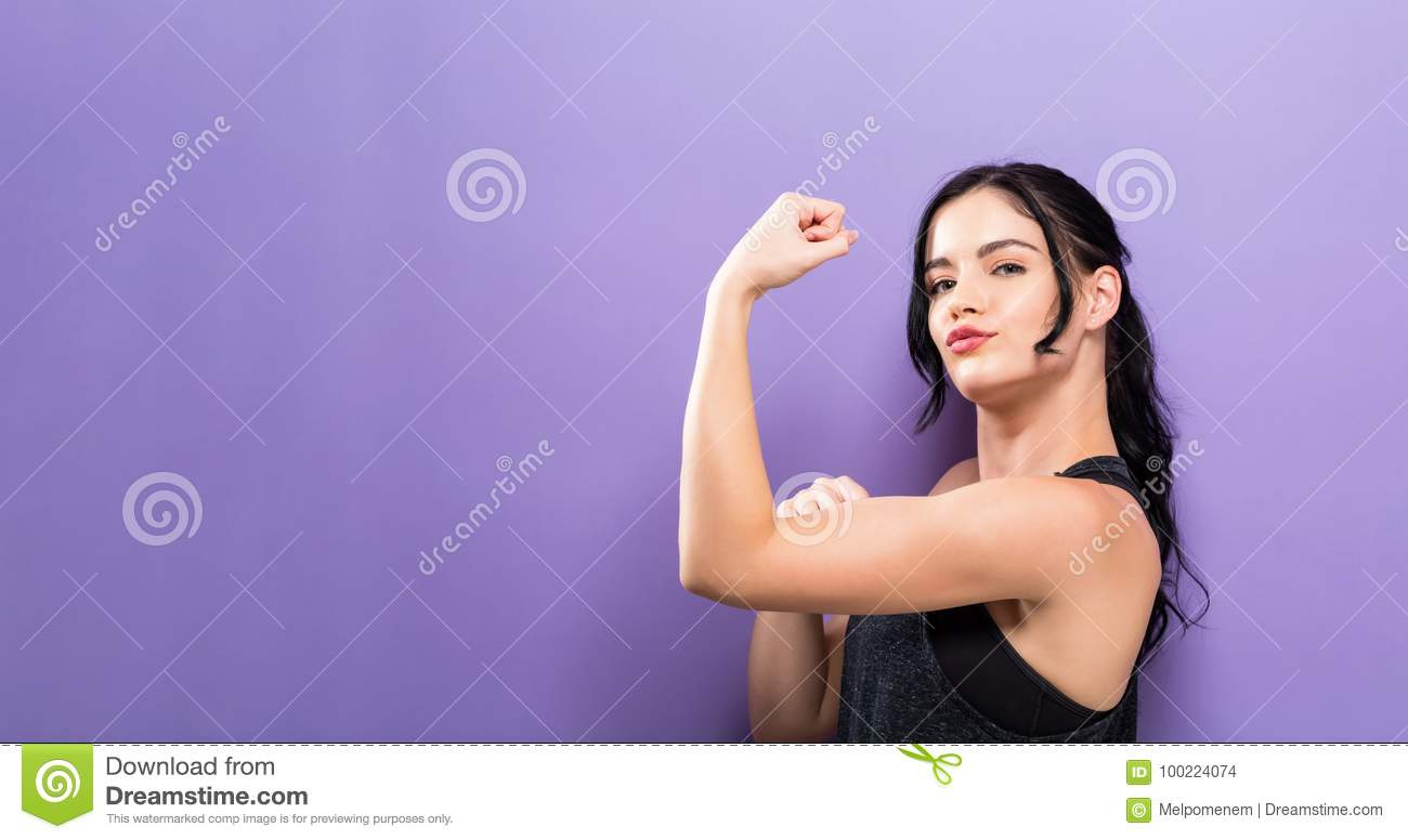 Powerful young fit woman