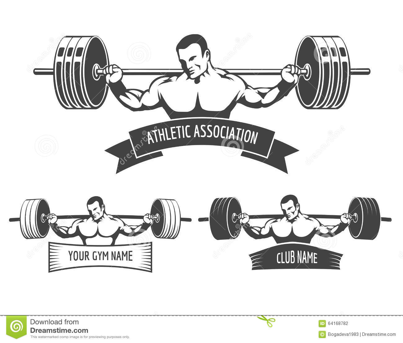 Powerlifting Athletic Logo Set Vector Illustration ...