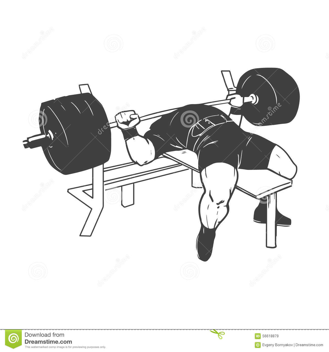 Powerlifting bench press stock vector  Illustration of icon